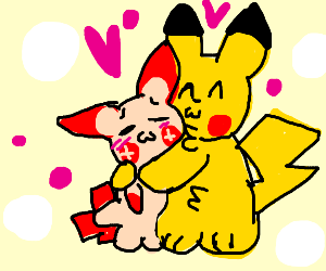 Pikachu hugs Plusle