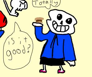 sans eats a burger