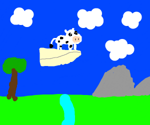 Little cow on a paper plane!