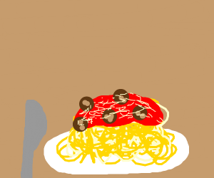 eating spaghetti with a knife