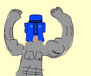Squidward's house becomes a buff robot