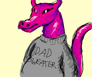 dragon in a dad sweater