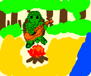 A turtle playing a guitar