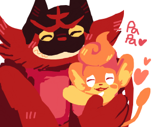 Pansear and his Incineroar Dad