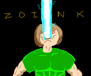 Shaggy shoots (or zoinks) out a cyan beam