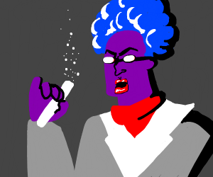 Blue afro scientist lost his mind