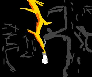 lightning powers a lightbulb