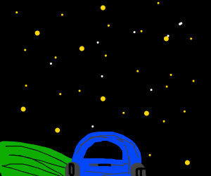 a car at a starry night