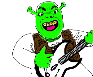 shrek playing guitar