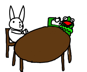 Kermit the frog and a white rabbit drink tea