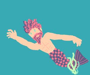 Hot merman caught in seaweed