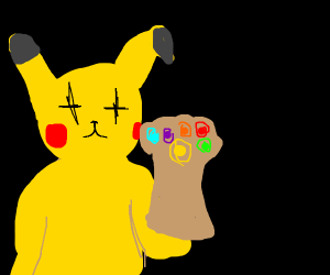 Pikachu with infinity gauntlet