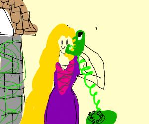 Rapunzel uses chameleon as phone