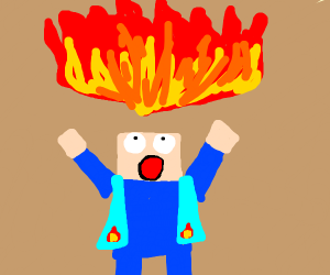 Minecraft Steve blesses the fire gods