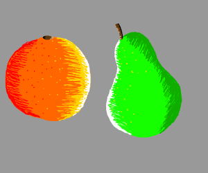 Orange and a pear