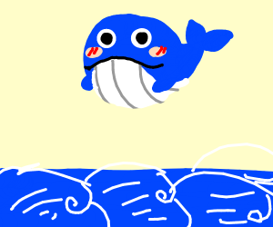 Kawaii whale on the sea