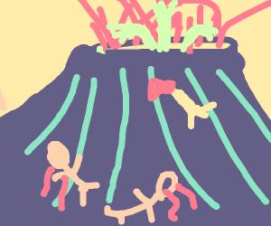 Volcano erupting limbs after eating children