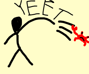 Cruel man yeets a poor cute crab.