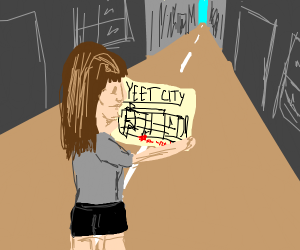 """girl looking at a map of """"yeet city"""""""