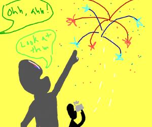 Gawking at fireworks