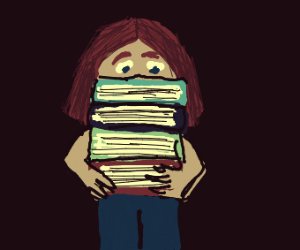 Carrying a Stack of books