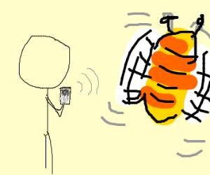 Stickman texting Bee