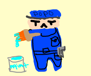 A policeman holding a paintbrush,
