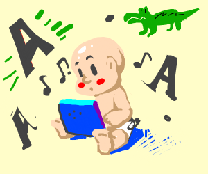 a baby learning the word a