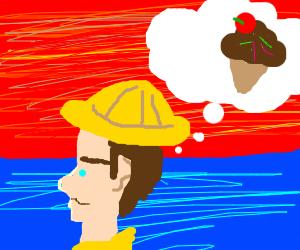 Gloomy red sky and fisherman wants ice cream
