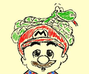 Snake on Mario's head ship