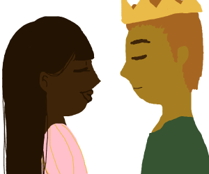 Girl kisses her potential prince