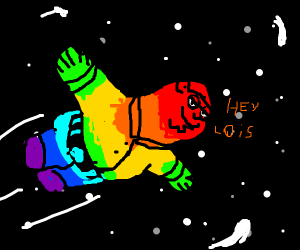 rainbow peter griffin flies through space