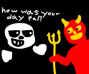 Sans' skull asks satan about his day