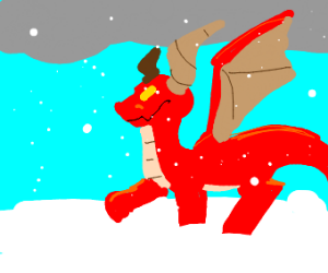Red dragon in winter