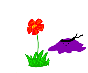 Purple blob sneaking up on flower