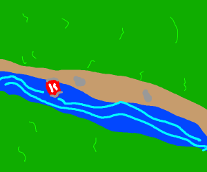 coca cola can floating down the river