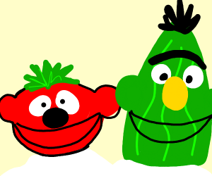 ernie the tomato and bert the cucumber