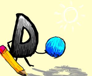 Grey Drawception D finds a blue ball.
