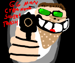weird-looking guy with a gun says GG