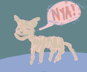 """Horrific Hairless Cat saying """"Nya!"""""""