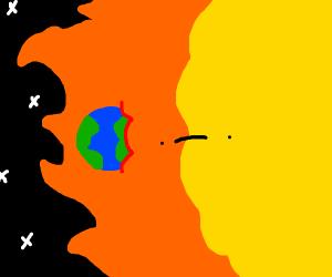 A very small world crashes into the sun o no