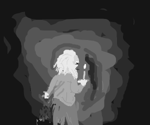 Old man in the dark with a candle