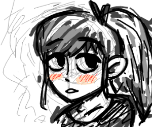 unfinished anime girl with only head drawn