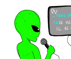 Alien singing karaoke