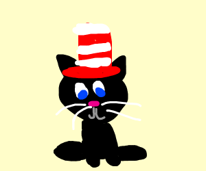 Happy cat with red and white hat