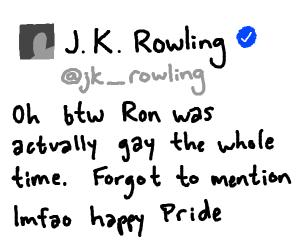 ron weasley is gay now cuz jk rowling
