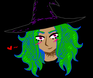 Woman wearing a witch hat
