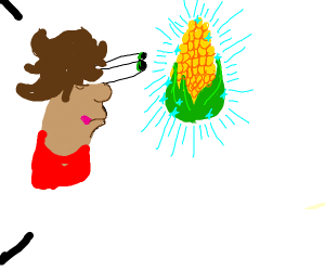 Man stares at corn