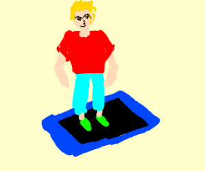 a  blond dude on a blue tablet
