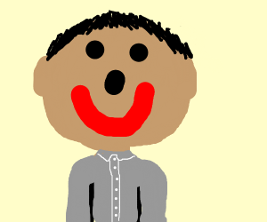 Happy bighead in a grey shirt